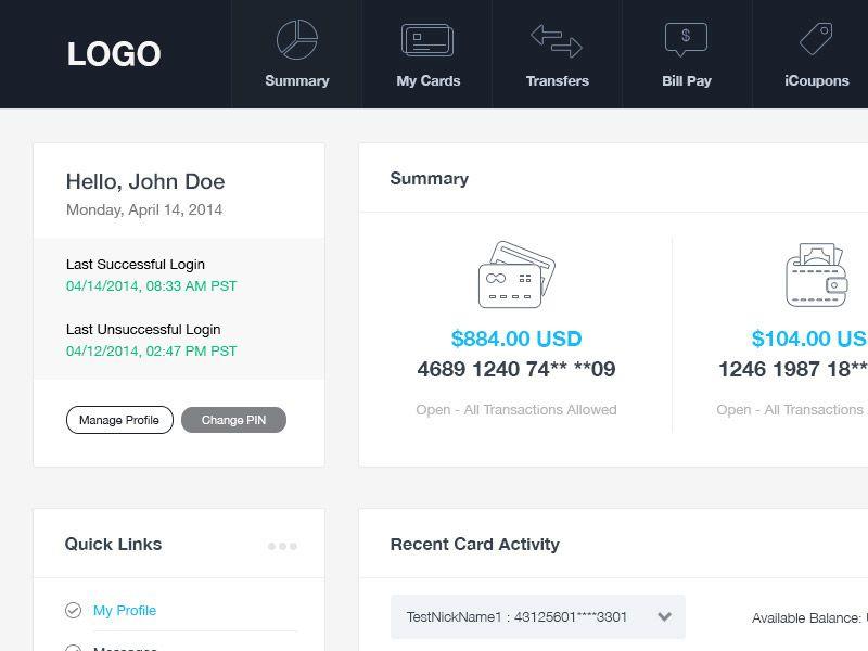 Online Banking Dashboard Online Banking Banking Card Transfer