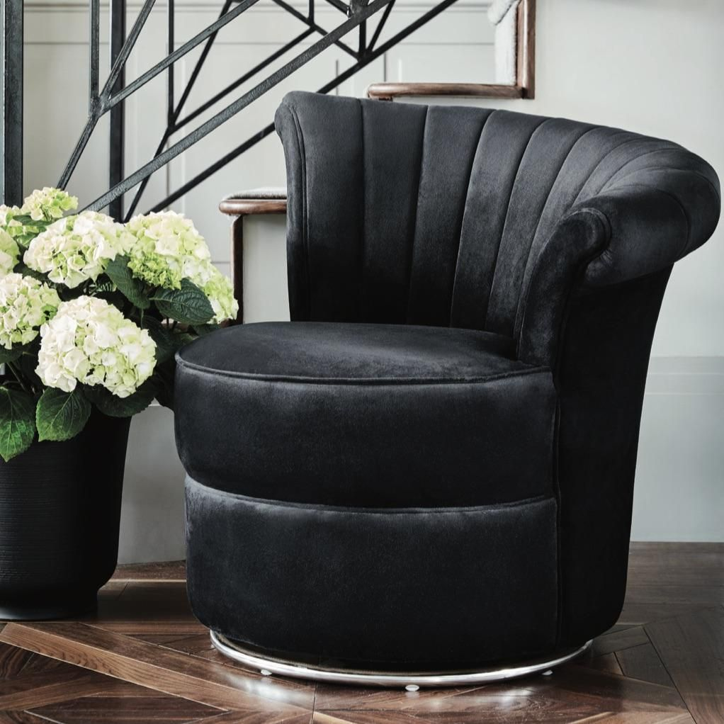 Admirable Savoy Curved Black Velvet Occasional Swivel Chair Gatsby Evergreenethics Interior Chair Design Evergreenethicsorg