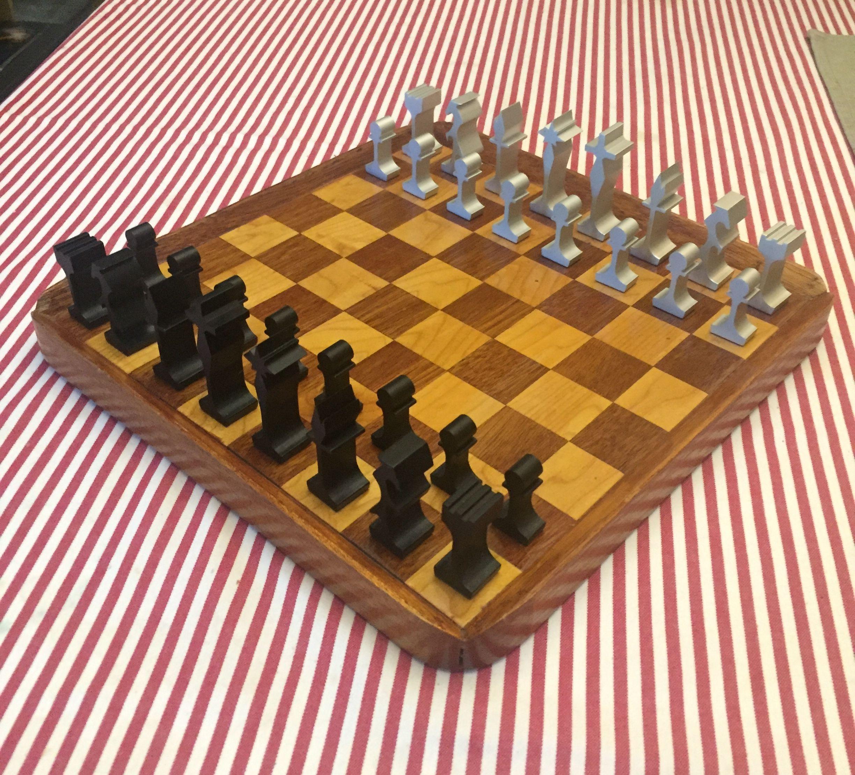 Midcentury modern aluminum Alcoa chess set Chess board