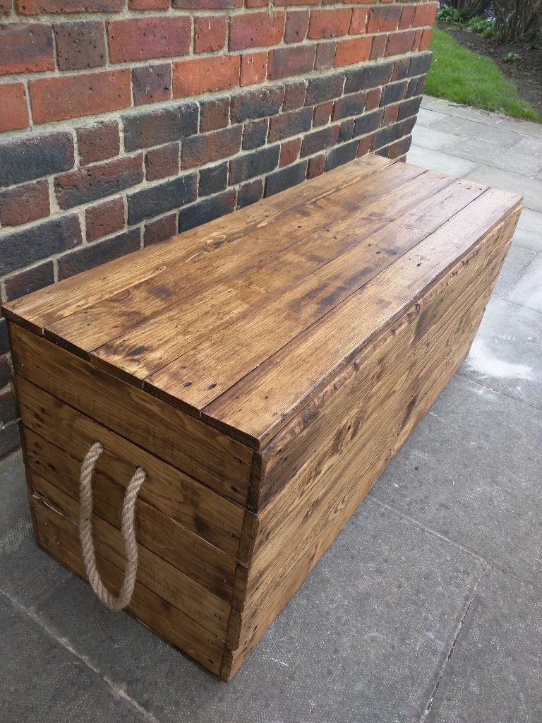 Long rustic wooden bench trunk/chest storage. Handcrafted