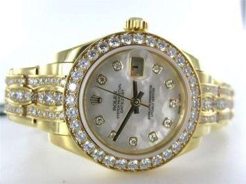 Ladies Rolex Datejust Pearlmaster Diamond 18kt Yellow Gold 80298 Box Paper Watch $61,995