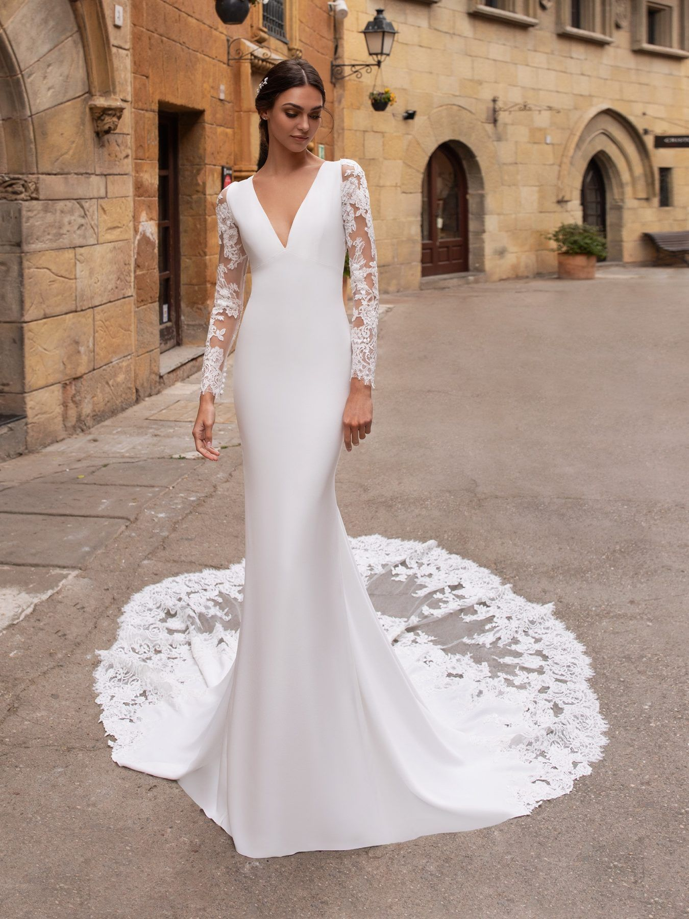 Illusion Long Sleeve V Neckline Crepe Sheath Wedding Dress Kleinfeld Bridal Wedding Dresses Kleinfeld Long Sleeve Wedding Dress Lace Wedding Dress Sleeves [ 1800 x 1350 Pixel ]