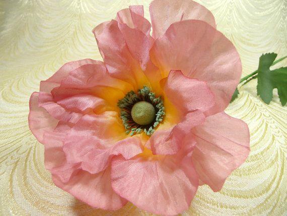 Vintage silk millinery poppy flower nos germany coral pink large vintage silk millinery poppy flower nos germany by apinkswan mightylinksfo