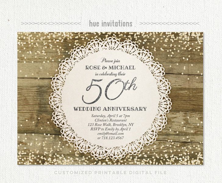 50th wedding anniversary invitation silver glitter confetti rustic - anniversary invitation