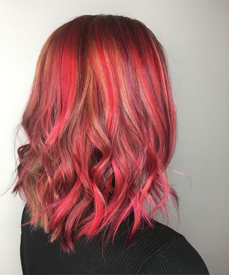 Copper Hair With Red Pink And Purple Highlights Natural Red