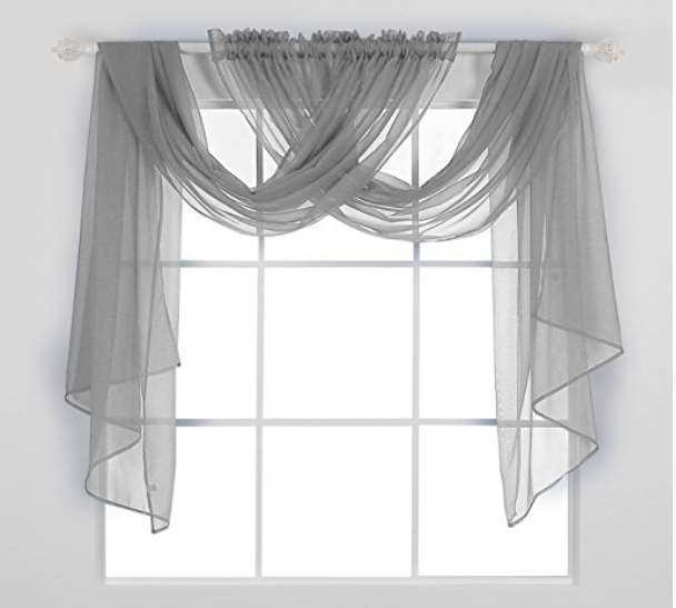 Sheer Gray Panels Hung Up Like Scarves Curtains Living Room
