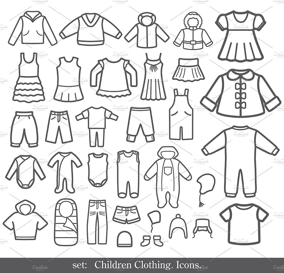 Set Of Clothing Icons Kids Outfits Kids Fashion Clothes Icon