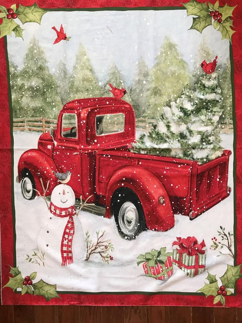 Fabric panel red truck and snow man christmas fun 36 x