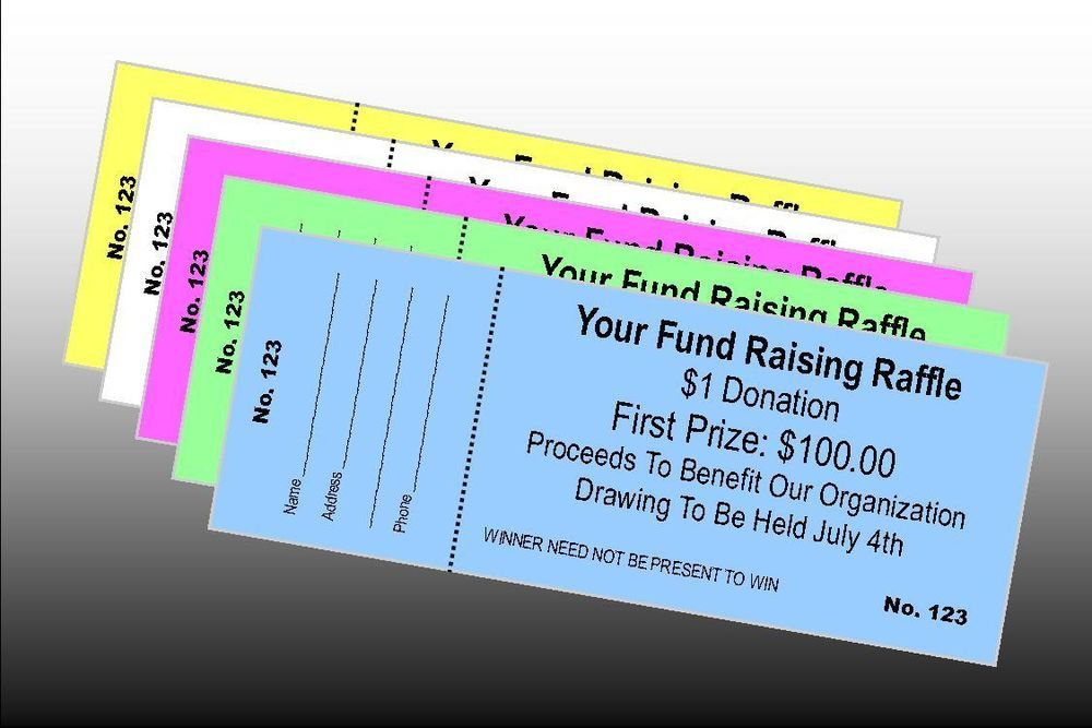 1000 Custom Printed Raffle Tickets Perfed  Numbered - BONUS 100