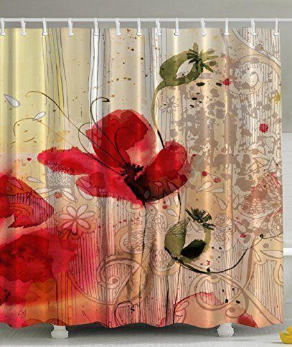 Red Poppy Flower Beige Floral Fabric Shower Curtain Digital Art