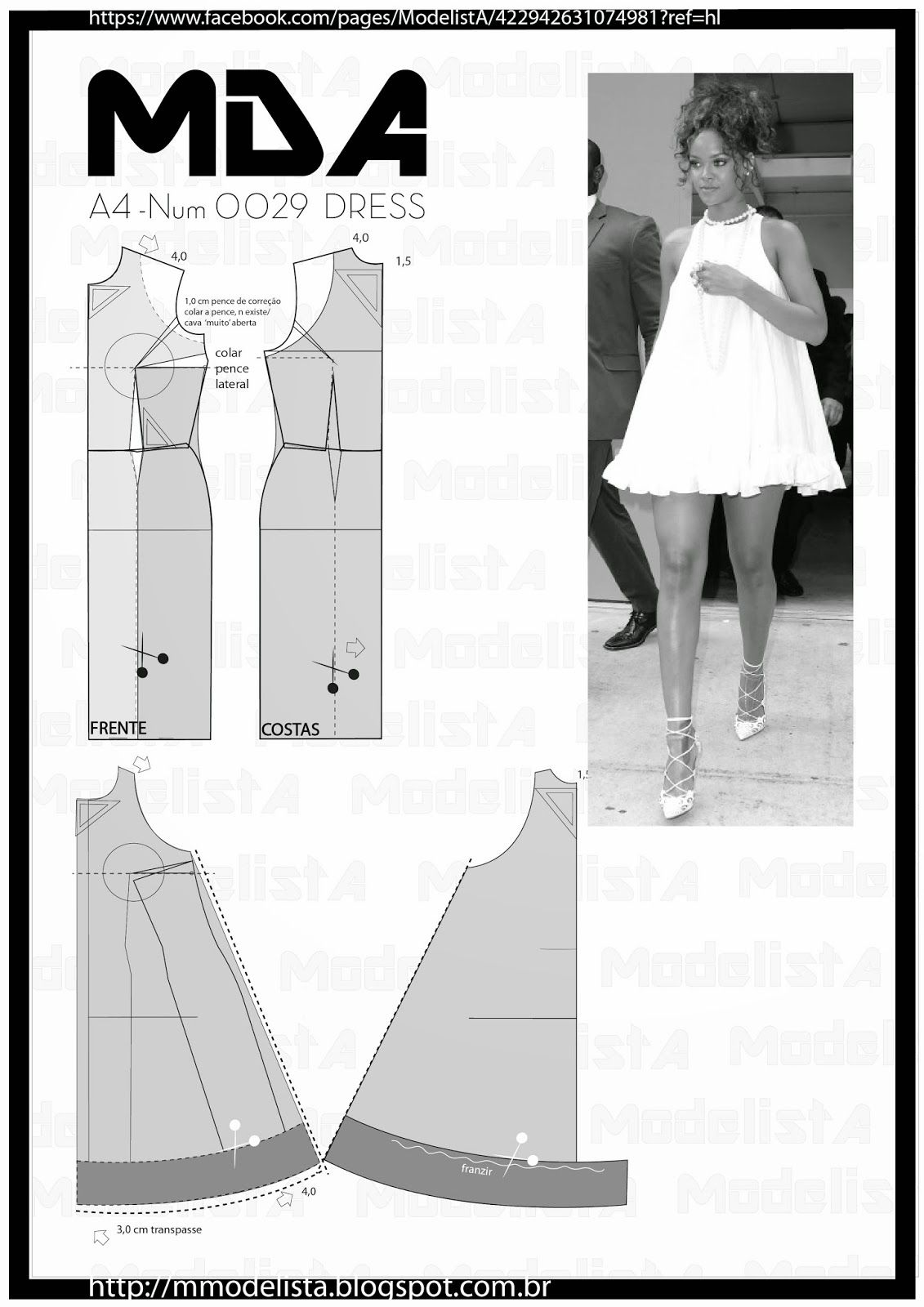 ModelistA: A4 NUM 0028 TRAPEZE DRESSsábado, 14 de fevereiro de 2015 A4 NUM 0028 TRAPEZE DRESS Now in the summer, how about a comfortable clothes but at the same time, elegant? For the trapeze dress can play this role very well. Democratic, that part of the 60s and back with everything in 2014/15