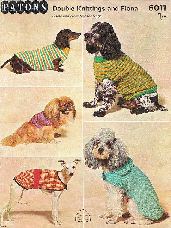 Dog Sweater Knitting Pattern 5 Types Vintage Pdf T213 Knitting