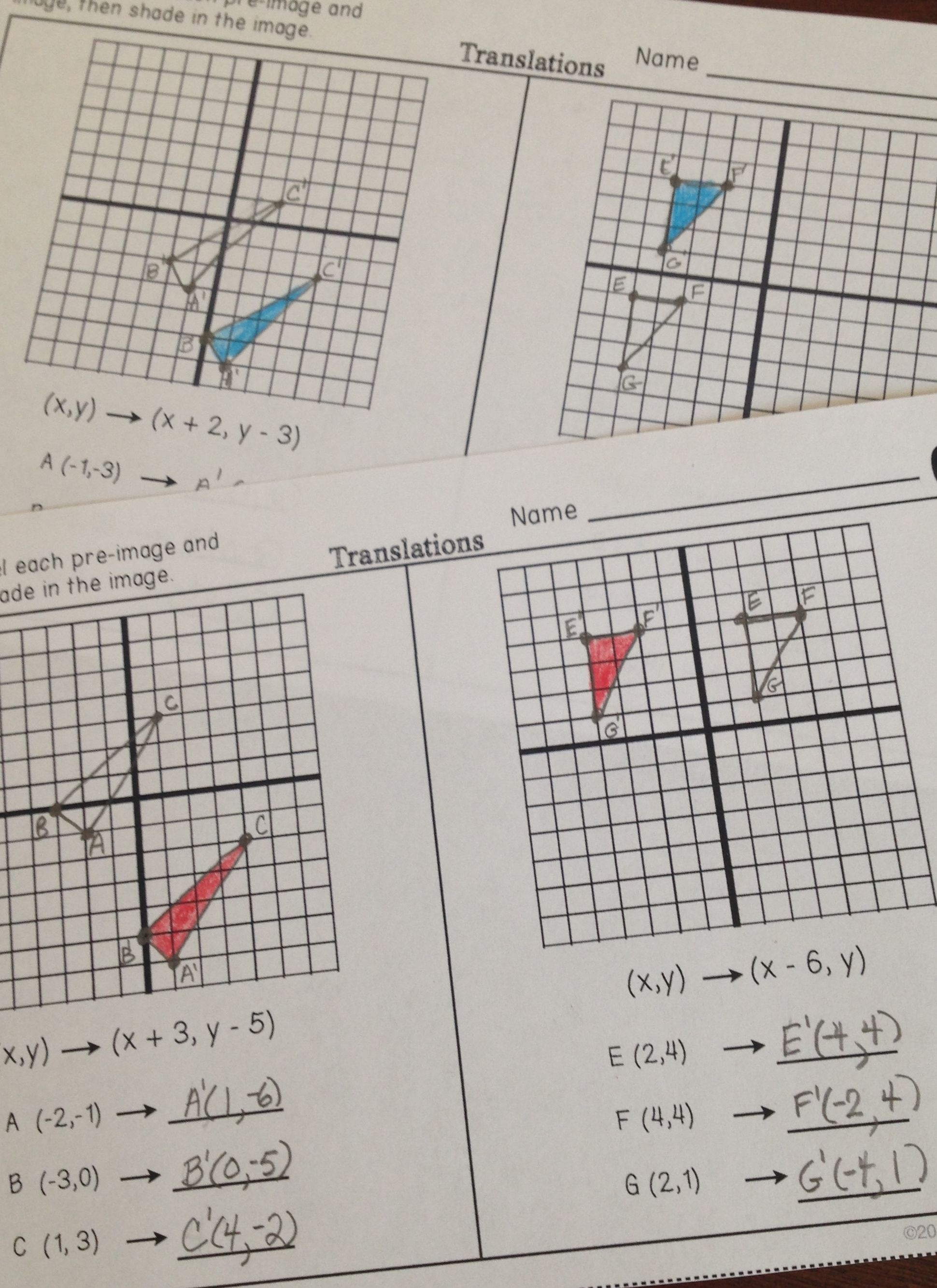 Partner Practice worksheets for transformations! Students complete two  problems for translations [ 2667 x 1940 Pixel ]