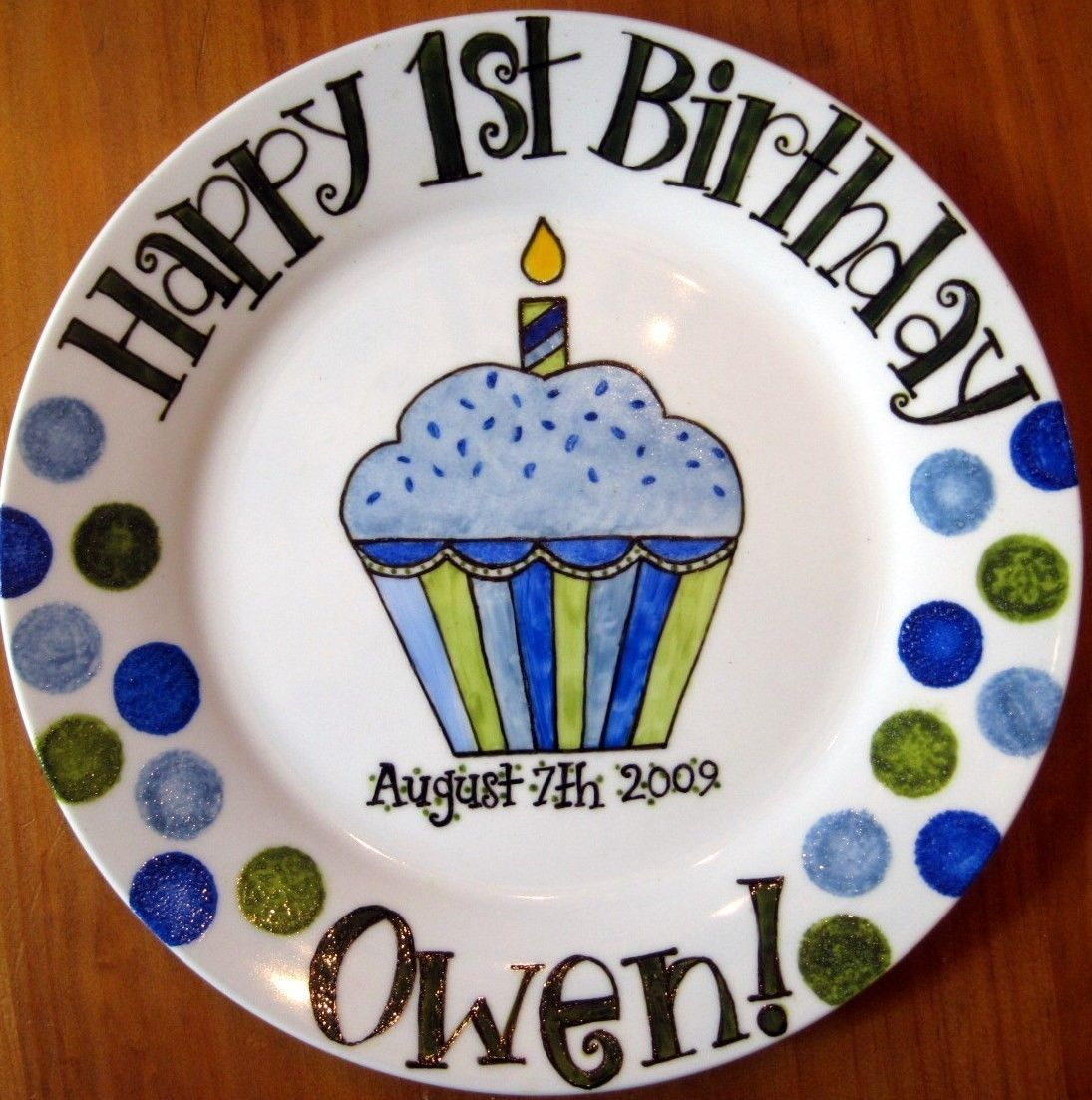 Happy Birthday Plates Hand Painted Personalized . First Birthday or Baby Gift for Boy  sc 1 st  Pinterest & Happy Birthday Plates Hand Painted Personalized . First Birthday or ...
