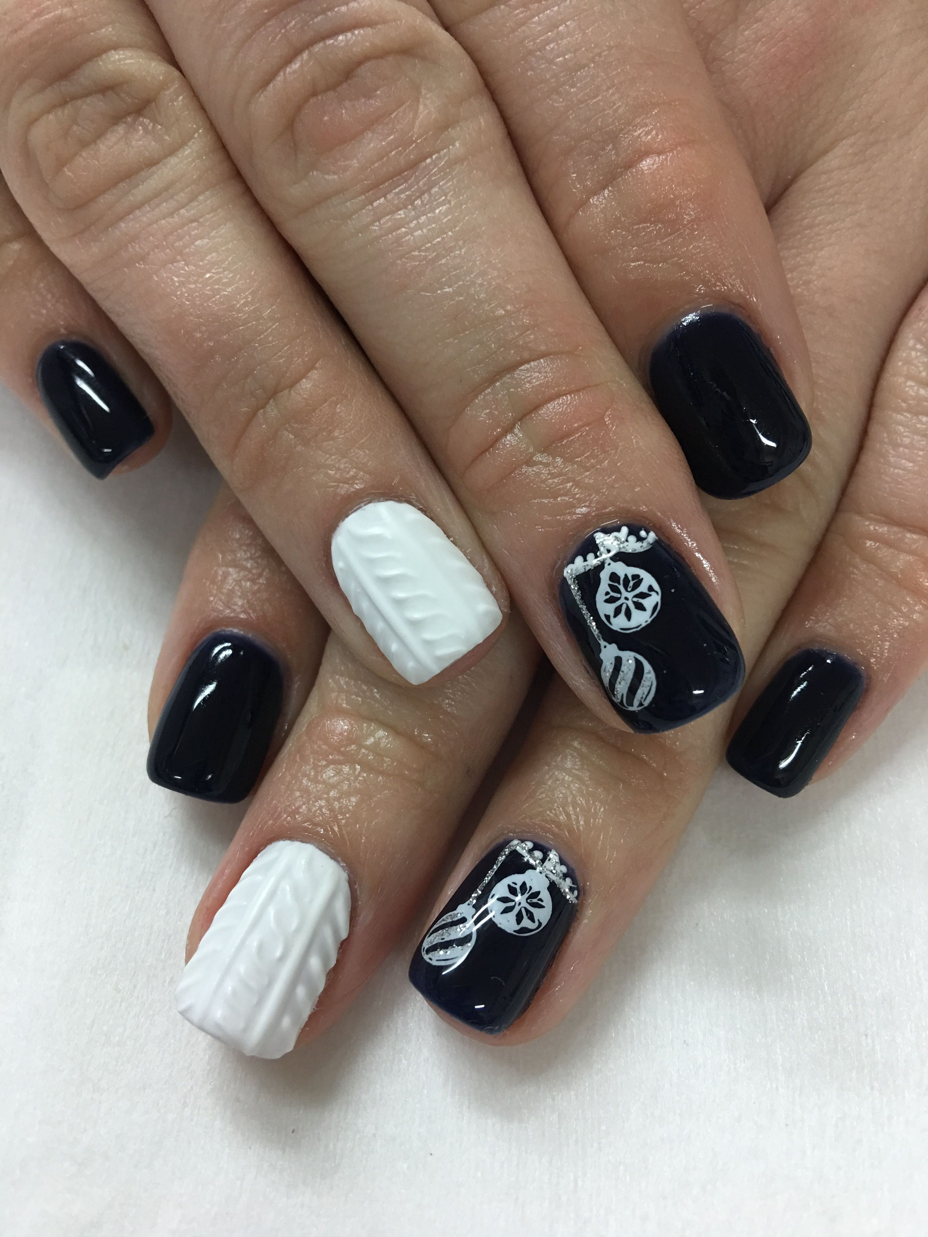Navy Christmas Ornament White 3D Gel Winter Sweater Gel Nails | Gel ...