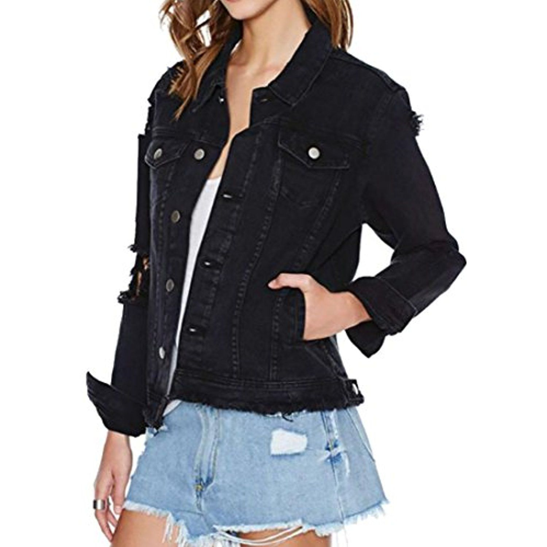 Womens Casual Cutoff Ripped Hole Boyfriend Button Denim Jean Jacket You Can Get Additional Details At The Denim Jacket Denim Jacket Women Jean Jacket Women [ 1500 x 1500 Pixel ]