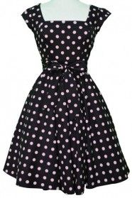 Lady Vintage 50s Pink Polka dot on Black Swing Dress