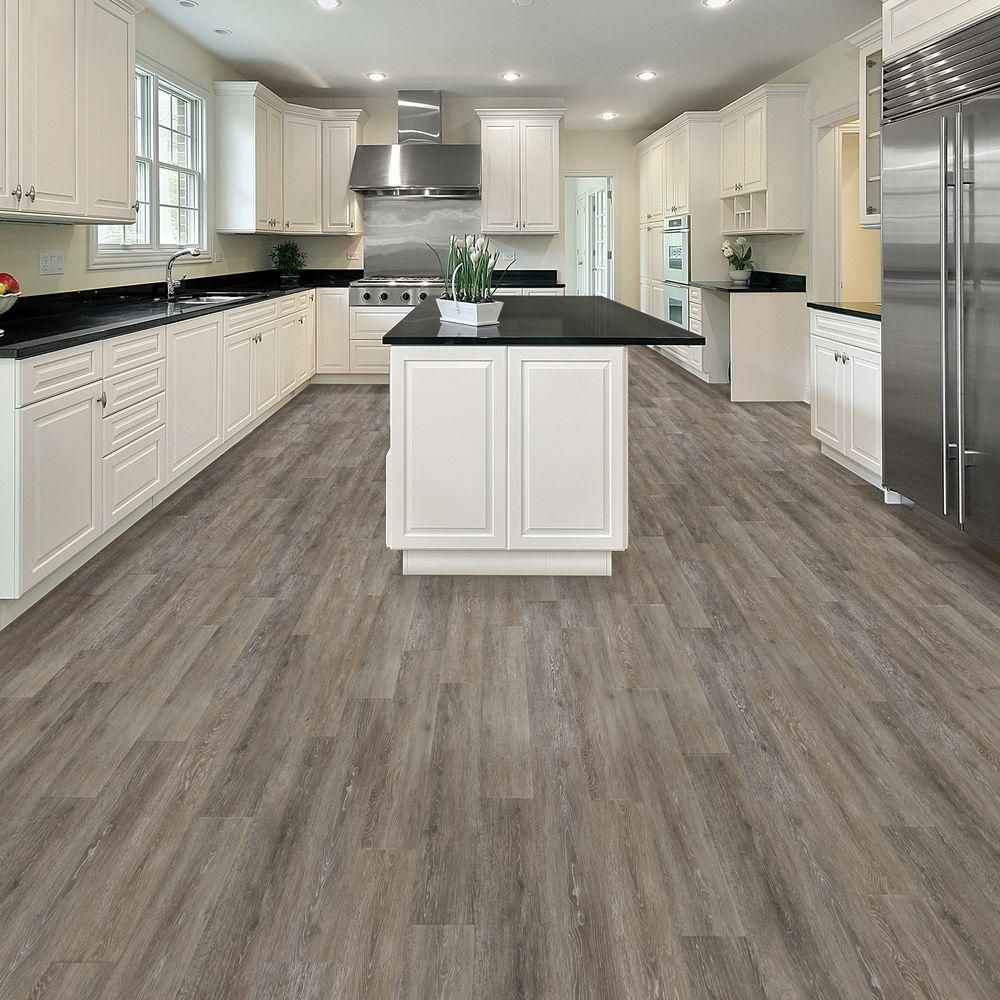 TrafficMASTER Allure 6 in. x 36 in. Brushed Oak Taupe Luxury Vinyl ...