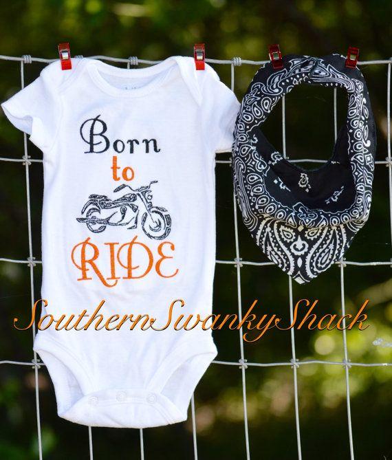 Born To Ride Motorbike Baby Feeding Bib Gift