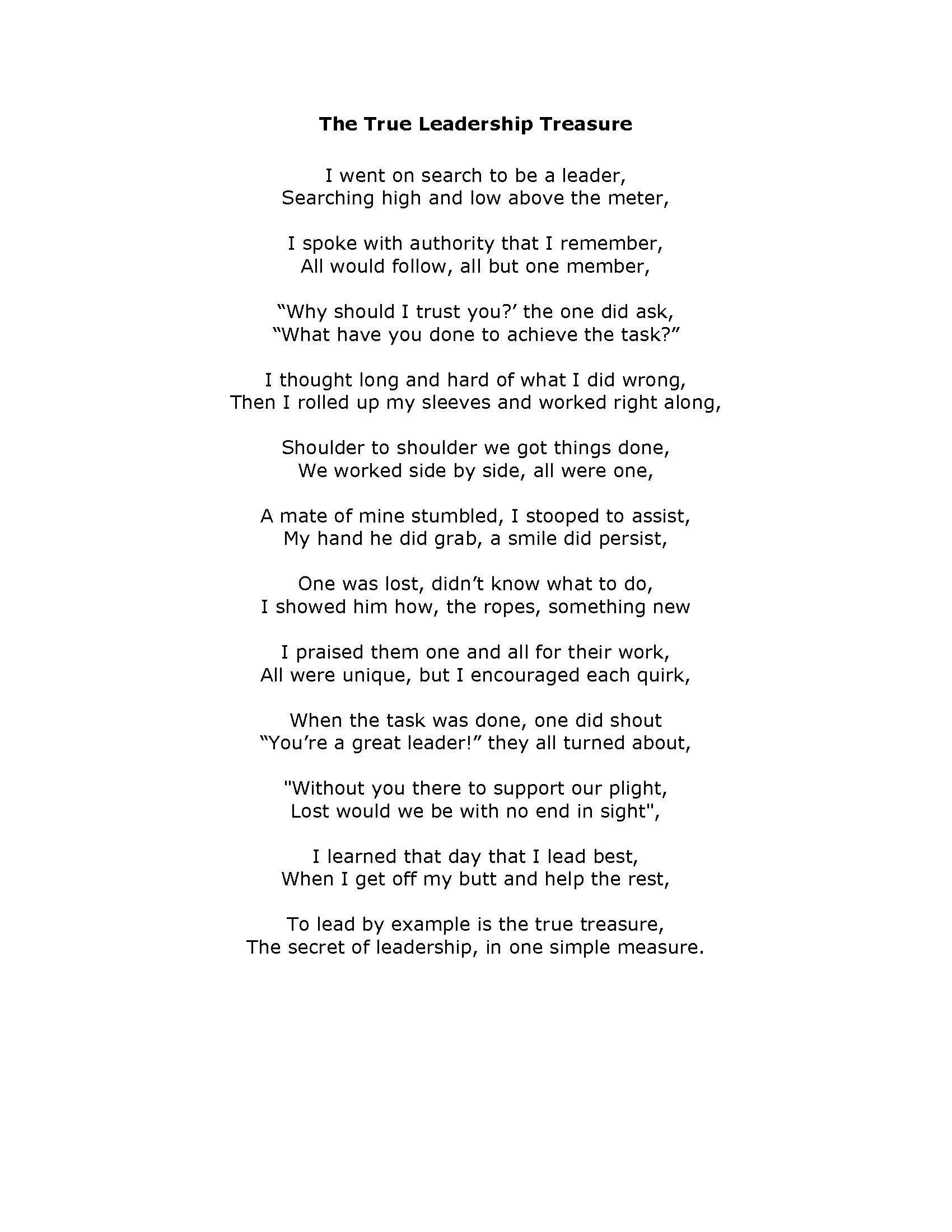 leadership poem - the true leadership treasure | eagle scout