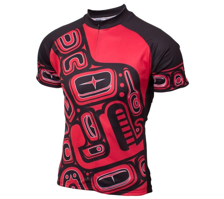 Orca_whale_cycling_jersey_men_red_and_black_front