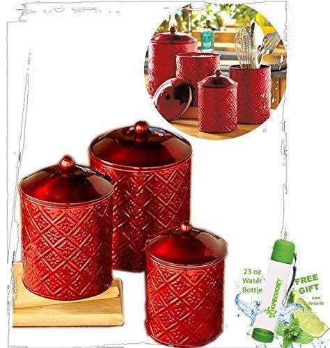 Gift Included- Red Set of 3 Kitchen Decor Storage Canisters + FREE