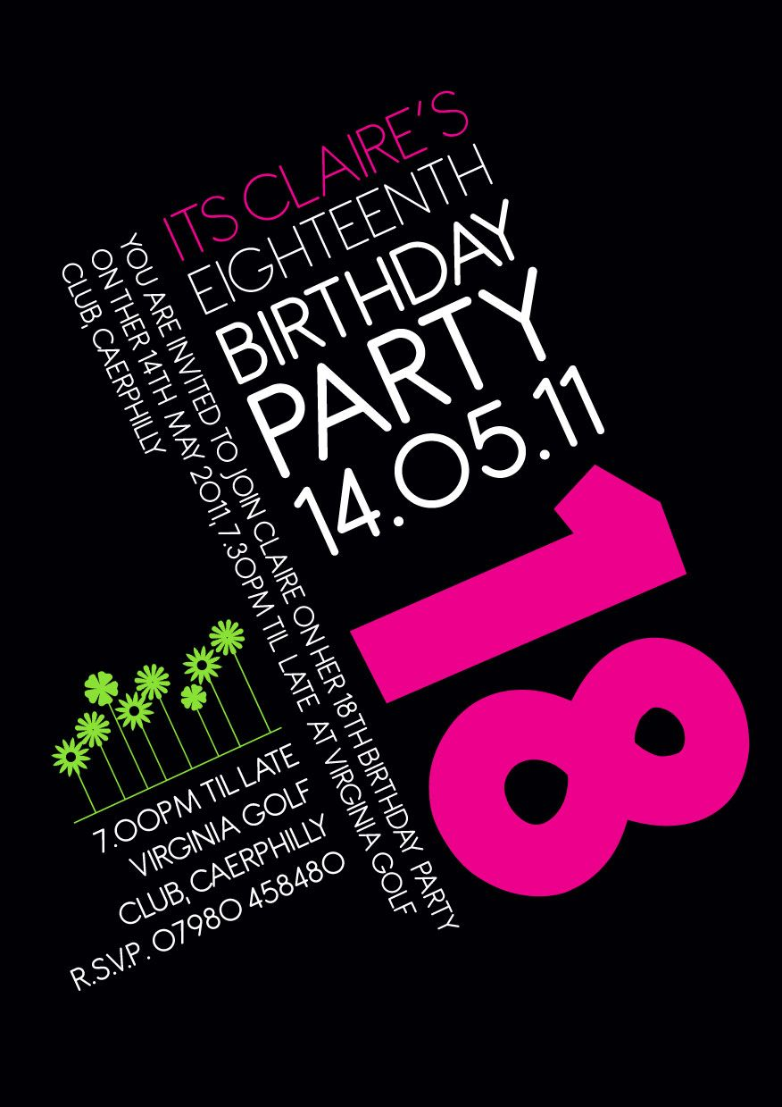 18th Birthday Invitation Invite Birthday Pink Graphics