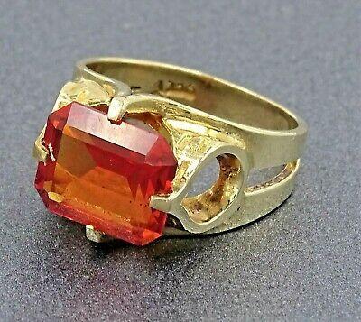 (Ad)eBay Link - LadiesVintage 9ct Yellow Gold & Orange Sapphire Dress Cocktail Engagement Ring