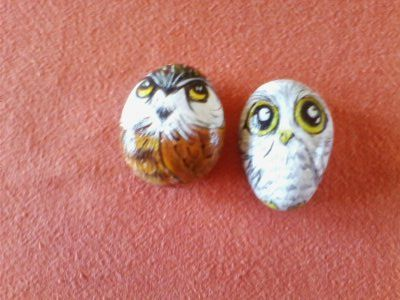 Baby owls - painted on pebbles
