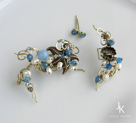 Starfish and seashell brass ear cuff and ear wrap by JewelryJS Want it!