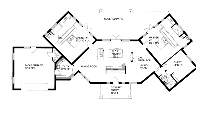 . Plans Double Master Ranch   Contemporary Ranch with Dual Master