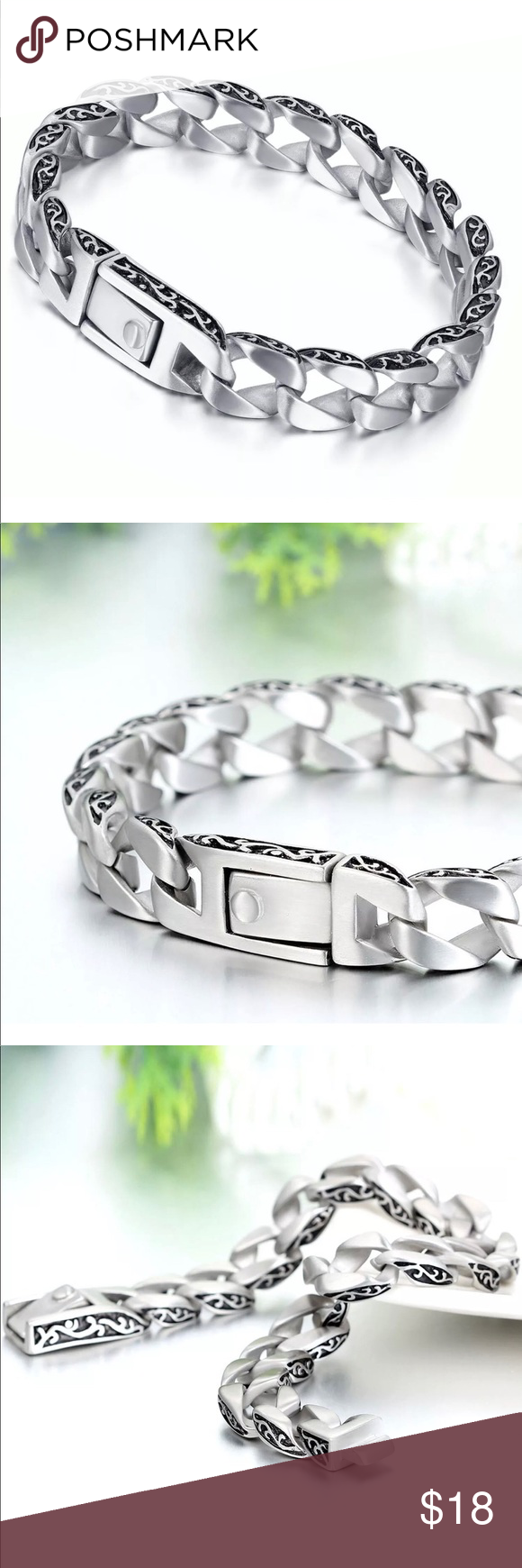Stainless steel bracelet mens cuban chain link nwt stainless steel