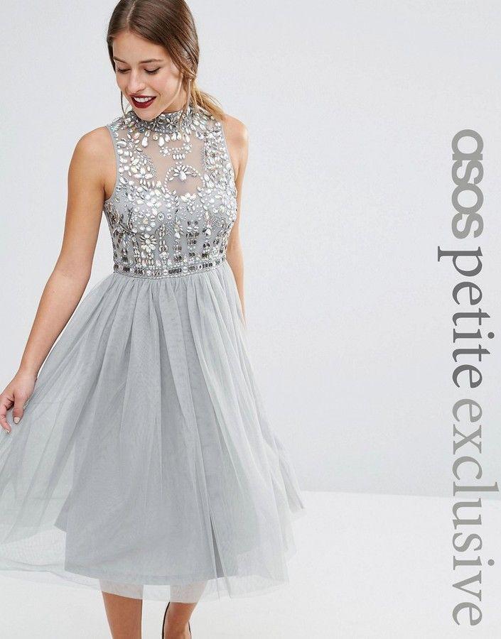 ec73a9ac678 ASOS Petite ASOS PETITE Mesh Prom Dress with Embellished Bodice ...