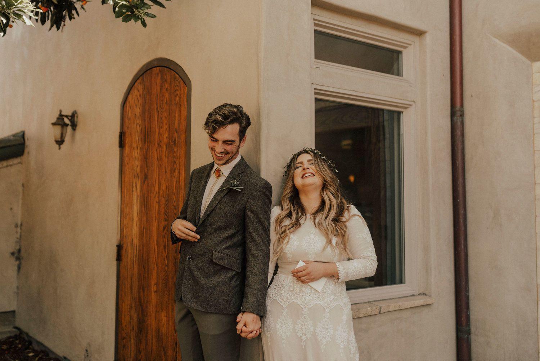 Wedding dress boxing  Michael  Celena  Cambria California Wedding u Kemp Collective