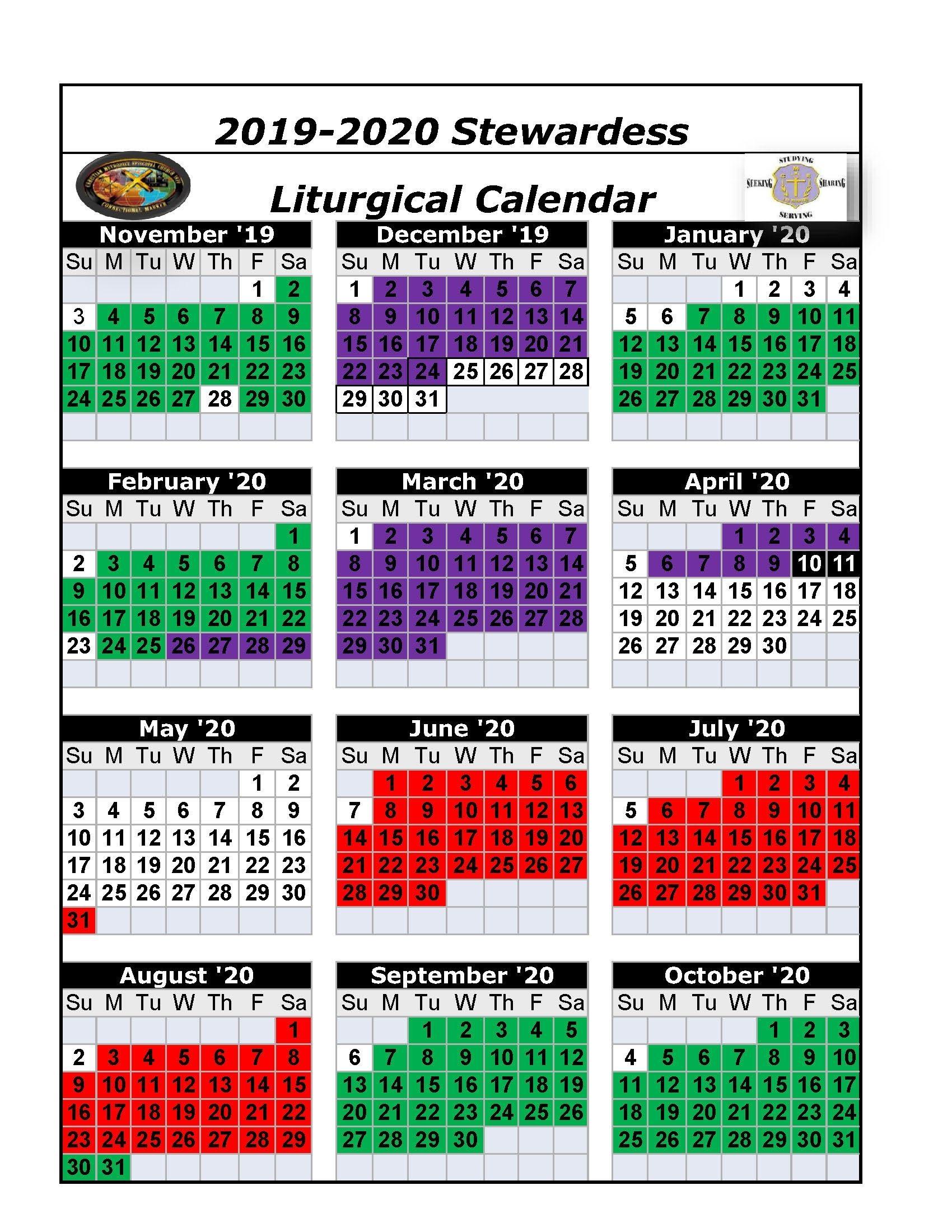 Free Printable Catholic Liturgical Calendar 2020 : printable, catholic, liturgical, calendar, Downloadable, Liturgical, Calendar, Template,, Calendar,, Design