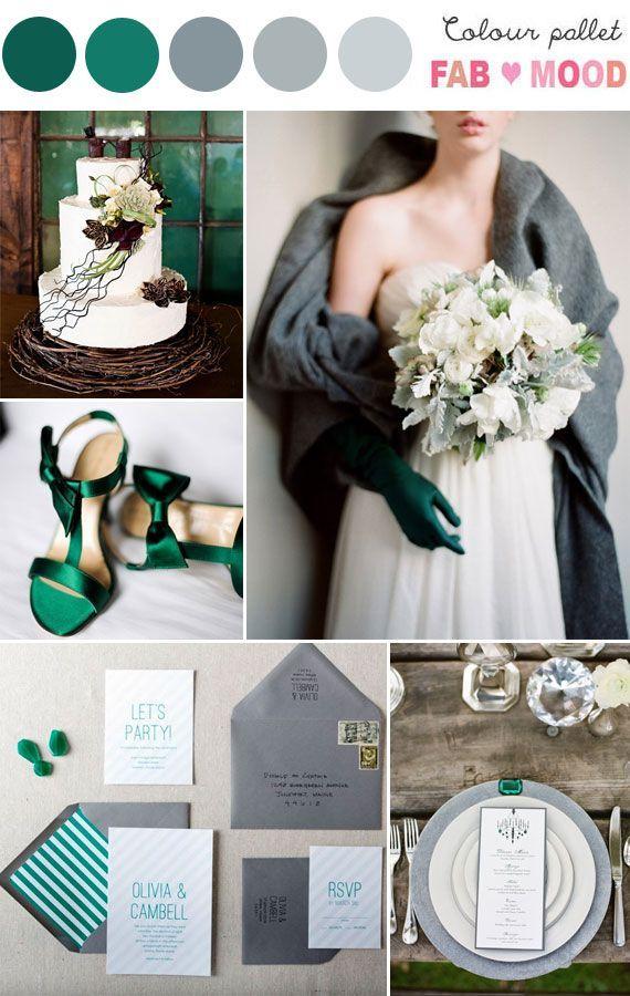 Grey Emerald Wedding Colour Palette