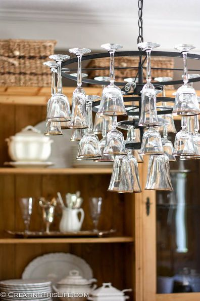 how to mak a wine glass chandelier, lighting | Wine glass ...