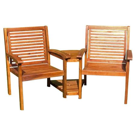 Two Acacia Wood Chairs Attached By A Matching Side Table Product Tete Construction Material