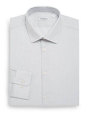 Saks Fifth Avenue Regular-Fit Medallion-Print Cotton Dress Shirt - Gre