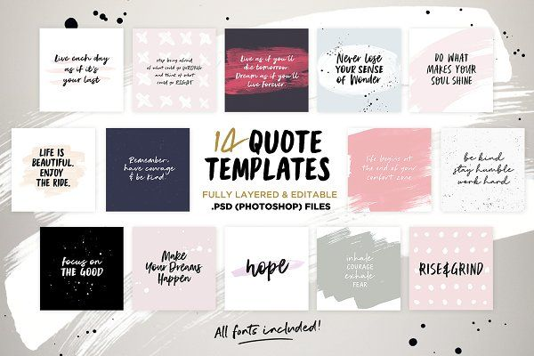 Instaquote Lettering Kit Social media template, Fonts and Typography