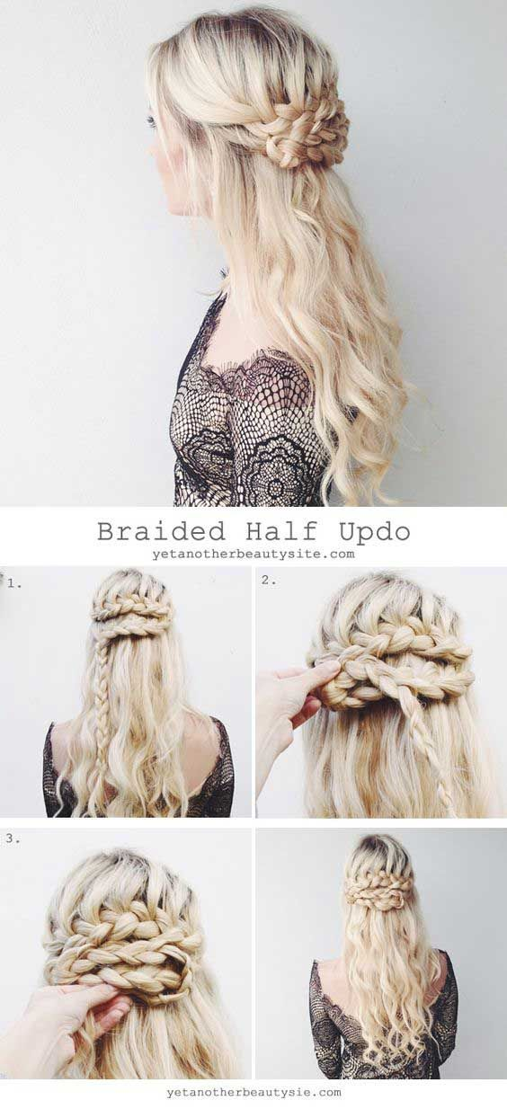 18 Easy Half Up Half Down Hairstyle Tutorials For Prom Gurl Com Hair Styles Long Hair Styles Braided Hairstyles For Wedding
