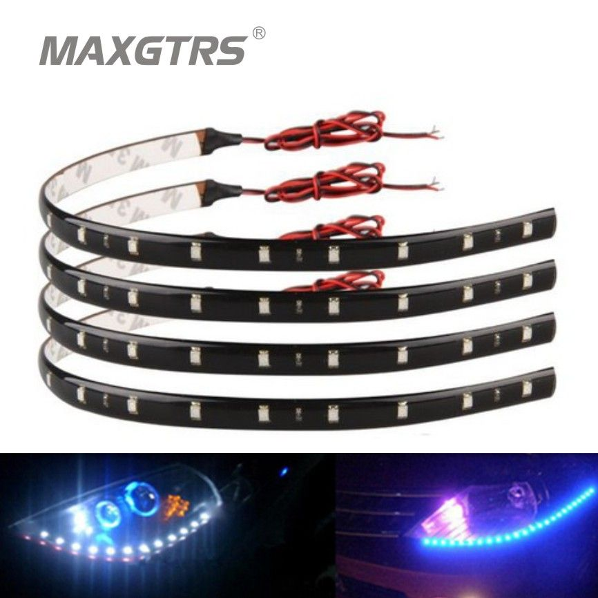 New 4pcs 30cm Blue Green Red White Waterproof Light 5050 12 Smd High Power Flexible Led Car Strips Drl Lamp Car Styling Che Waterproof Car Led Strip Lighting