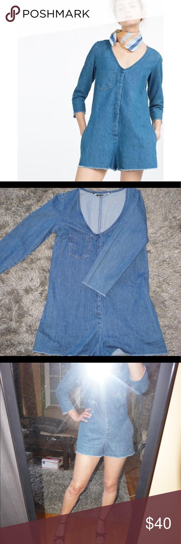 78e2dcf4c64f Zara Trafaluc Denium Romper Jumpsuit
