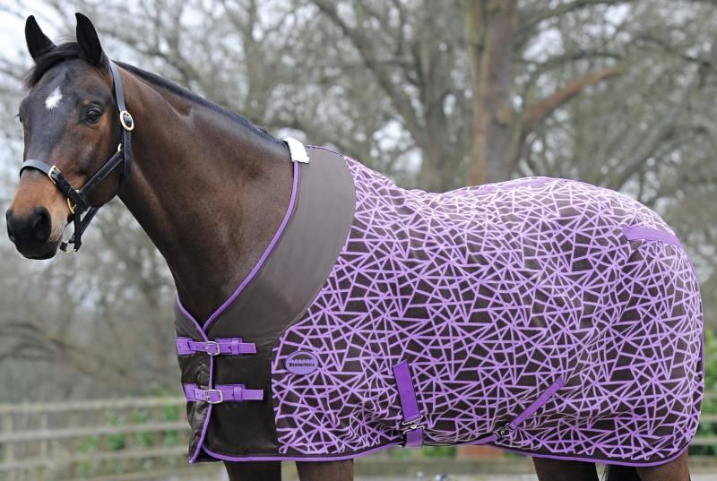 Weatherbeeta Fleece Cooler Standard Neck Rug Chocolate Purple Diamond Print Goyt Mill Saddlery