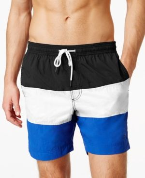 d211faf79e753 Tommy Hilfiger Waterford Colorblocked Drawstring Swim Trunks - Black ...
