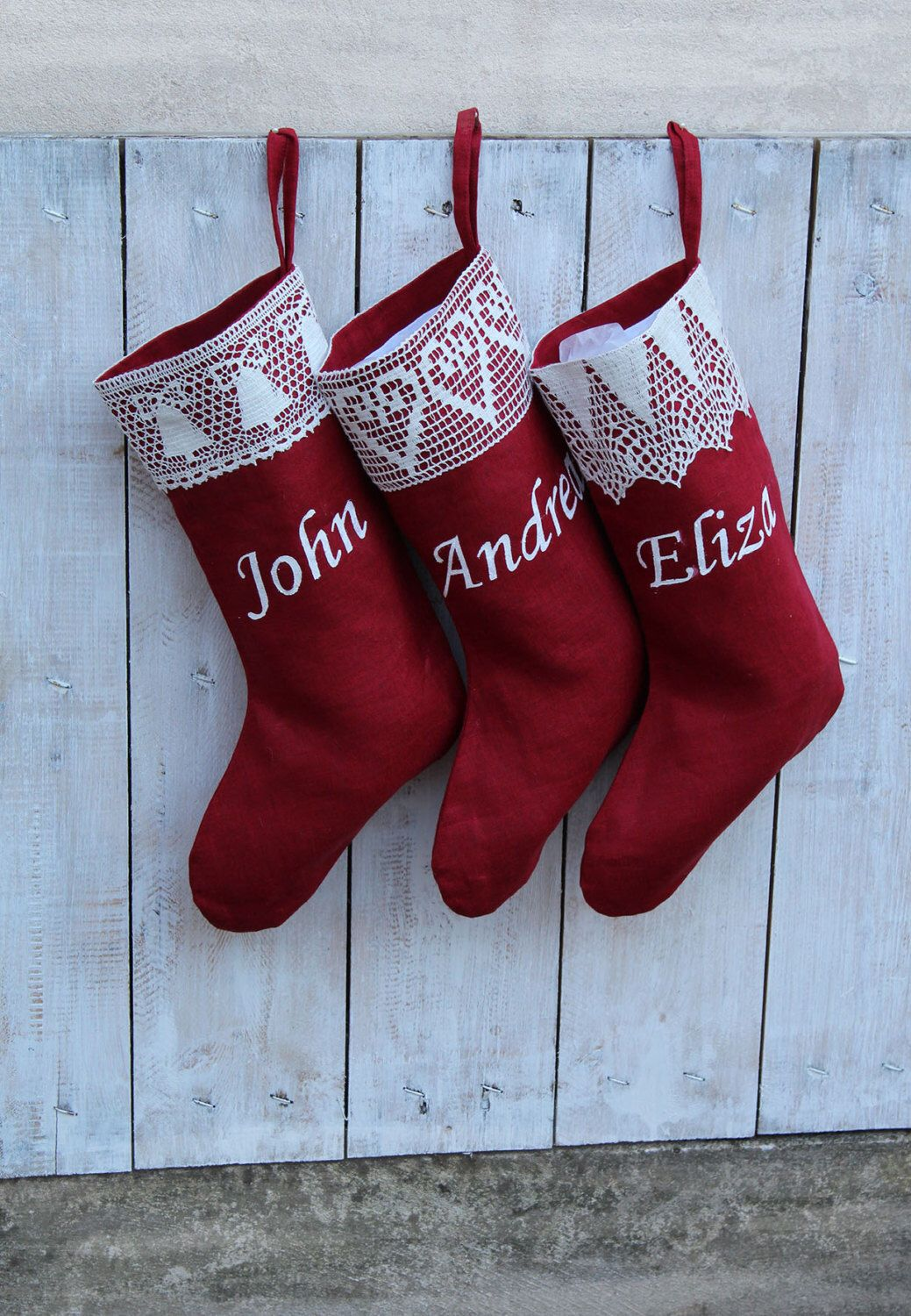 Personalized Red Christmas stockings with lace Custom christmas stocking  kits Xmas stockings Personalized Christmas stockings personalized