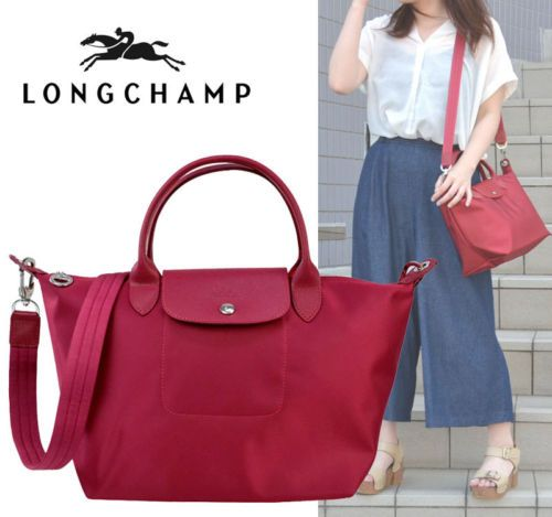 Auth LONGCHAMP Le Pliage NEO Small Tote Bag Red RUBY w  crossbody ... d7fa21d95d4ad