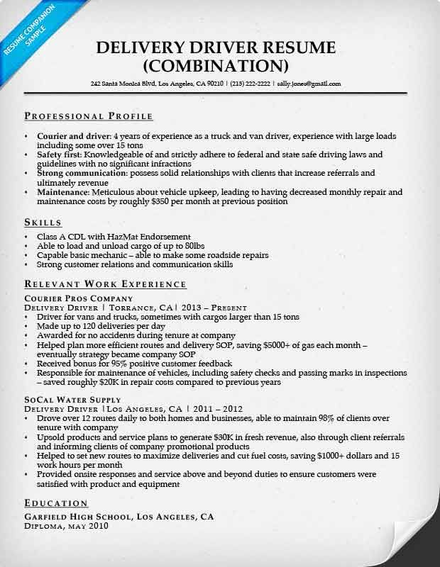 Sample Resume Newspaper Delivery Job Description Company Driver Free