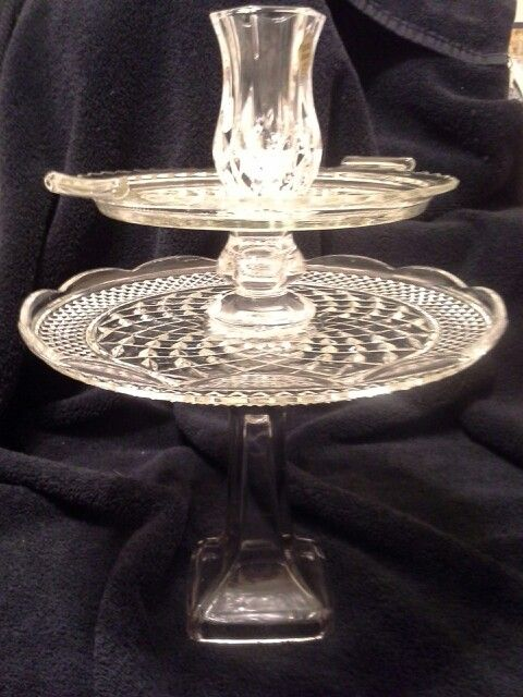 2 tier plate with flower/candle holder.