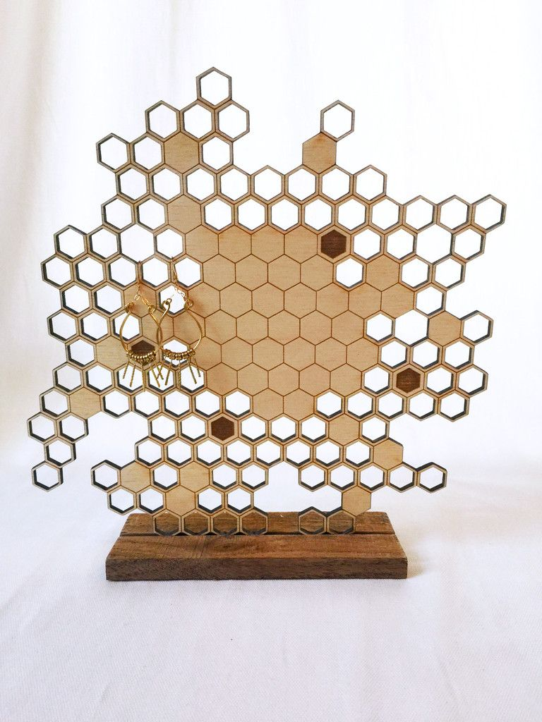 Honeycomb Laser Cut Wood Jewelry Stand Things I Covet